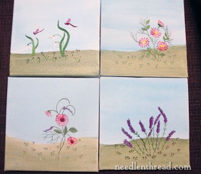 hand embroidery on painted canvas: this is totally cool! I never thought of doing this--definitely gonna give it a try
