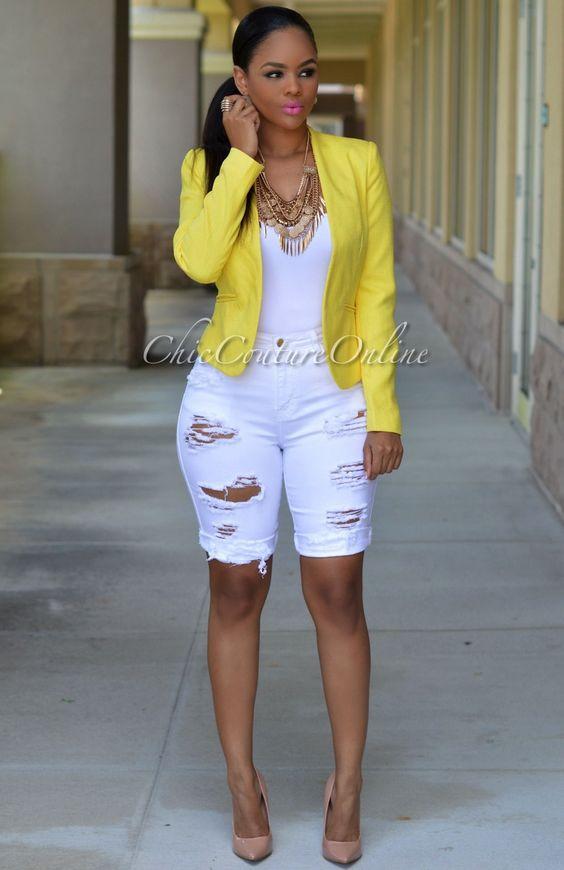 Chic Couture Online - Hazel White Denim Destroyed Bermuda Shorts ...