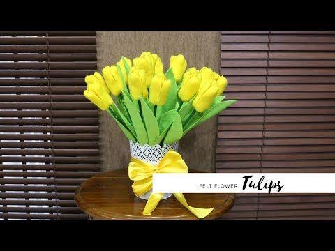 Cara Membuat Bunga Tulip Dari Kain Flanel Felt Tulip Flower