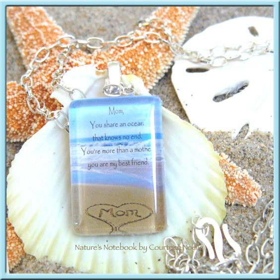 Inspirational glass pendant necklace with mom written in the sand inspirational glass pendant necklace with mom written in the sand a unique beach chic gift voltagebd Images