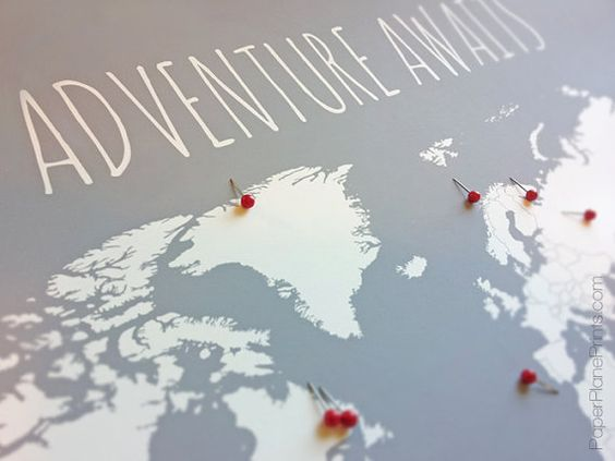 World Map With Pins First Anniversary Gift for Him Travel Map – Travel Map Of The World