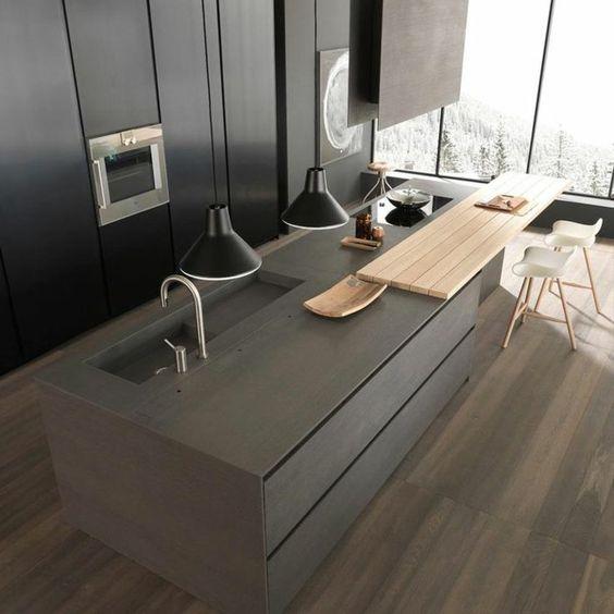 moderne graue küche mit kochinsel Küche Pinterest Kitchens