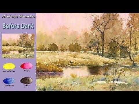 Sin Bosquejo Paisaje Acuarela Antes De La Oscuridad Wet In Wet Arches Rough Namil Art Youtube Paisajes Acuarela Acuarela Arte