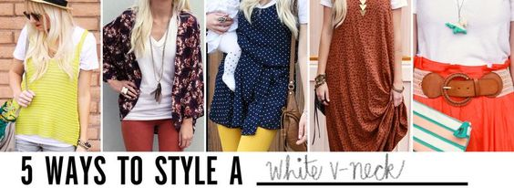 5 ways to style a white v-neck