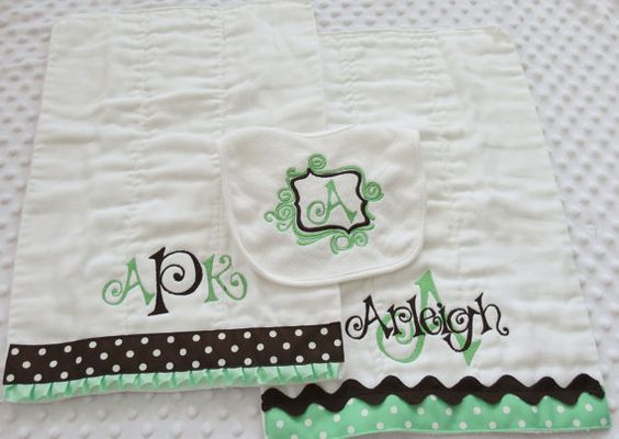 Chocolate Mint Baby GiFT set Personalized BuRP by mylittlehedgehog, $33.99