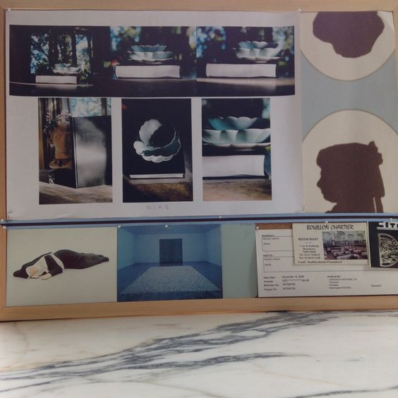 Mood Board: Still life photographs by Dr John Dickson of Rachel Carley Ceramics with my PhD in architecture on Rachel Whiteread (2006), Osborne and Little wallpaper, duck egg & chocolate ribbon, Kerry Stewart, Untitled (Sleeping Nun), Untitled (Placebo) Felix Gonzales-Torres, Serpentine Gallery, paint sample Filmy Green PPG Architectural Coatings, first ever paid writing gig for AD magazine, card from Bouillon Chartier, Paris, ticket to Cité de l'architecture & du patrimoine.