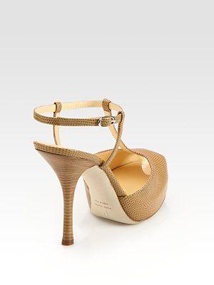 Zanotti Snake-Print Leather T-Strap Platform Sandals $455 WORK IT!!