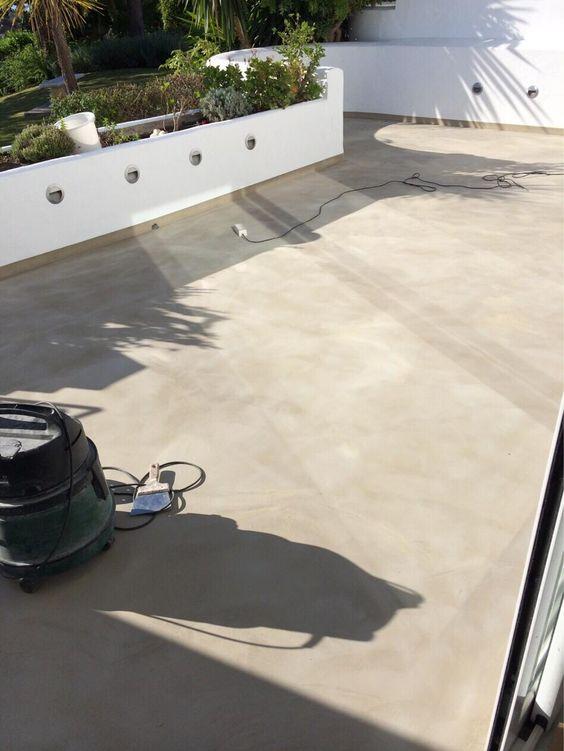 Lijando y preparando terraza de cemento pulido - Cemento pulido exterior ...
