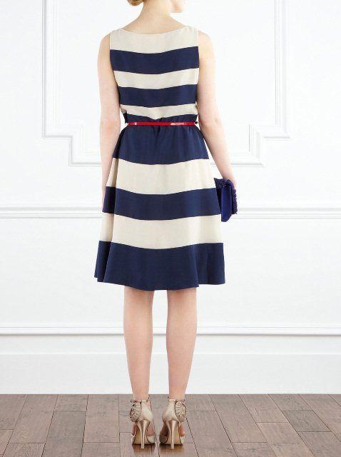 classic stripe blue dress, ideas?!