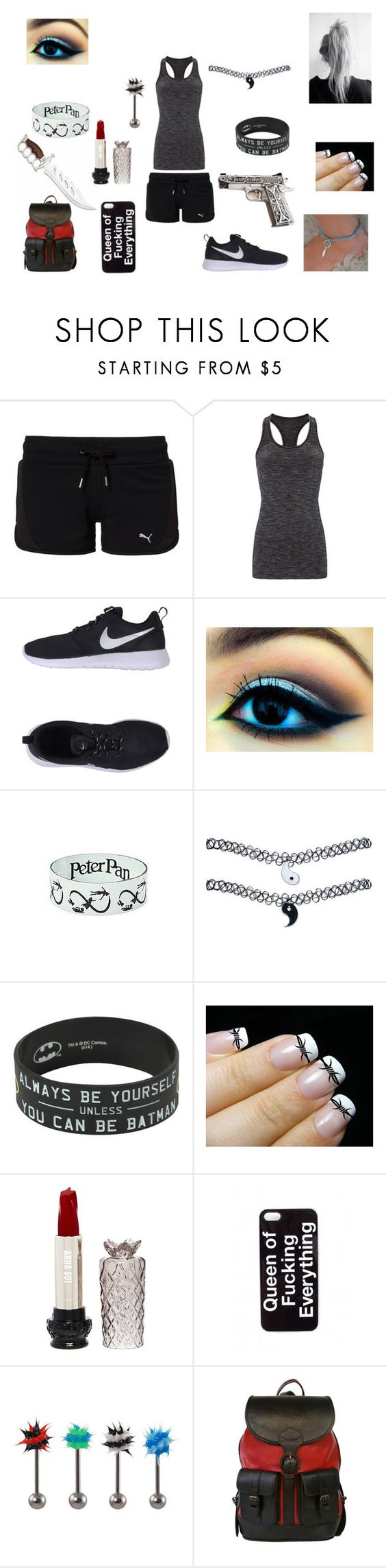 """Training"" by carriejohnson102701 ❤ liked on Polyvore featuring Puma, Sweaty Betty, NIKE, Disney, Wet Seal, Barbed, Anna Sui, Zero Gravity, Beara Beara and women's clothing"