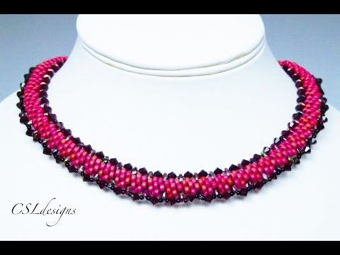 Beaded kumihimo necklace with SuperDuos - YouTube