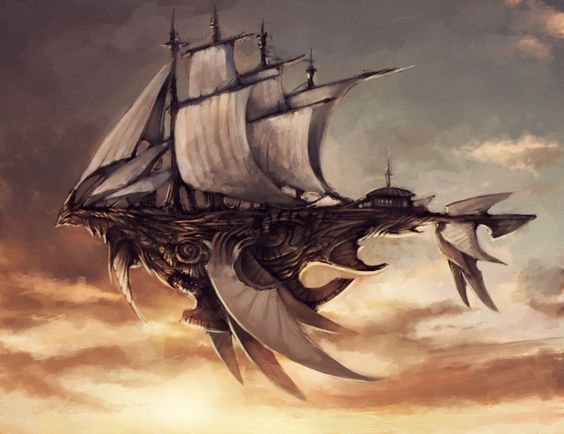 steampunk bird airship