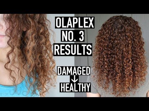 Updated Olaplex No 3 Before And After Results On Highlighted 3b Curly Hair How To Use Olaplex To Repair Transiti Damaged Curly Hair Curly Hair Styles Olaplex