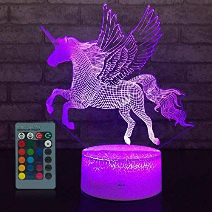 Jmllyco Unicorn Light Unicorn Lamp Kids Night Light 16 Colors Change With Remote Control Optical Illusion Night Light Kids Kids Night Birthday Gifts For Girls