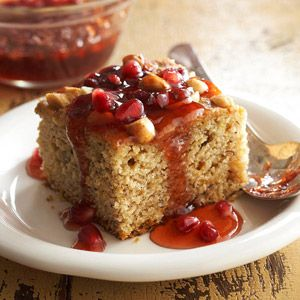 Banana-Clementine Wacky Cake with Pomegranate Sauce From Better Homes and Gardens, ideas and improvement projects for your home and garden plus recipes and entertaining ideas.
