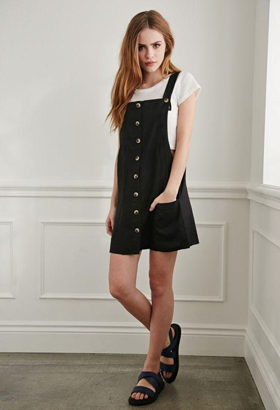 Forever 21 Linen Overall Dress: