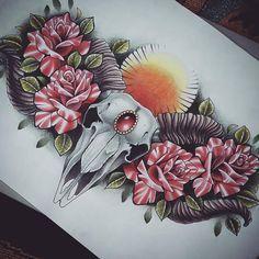Ram Skull and Roses Chest Piece Tattoo Design by kirstynoelledavies on DeviantArt