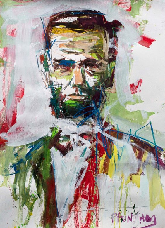 Original Abstract Abraham Lincoln Painting Mixed Media by painthog