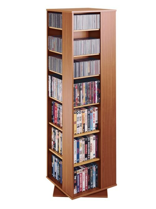 Spinning multimedia tower cd dvd storage tower racks