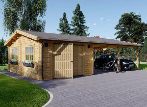 Garage En Bois 400x595 44mm Carport Double 550x595 57m Garage Bois Toit Plat Garage Bois Ports De Voiture