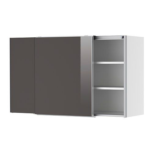 FAKTUM Wall cabinet with sliding doors IKEA Sliding doors don't ...