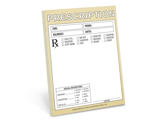 Prescription nifty notes note knock knock and doctors for Fake prescription pad template