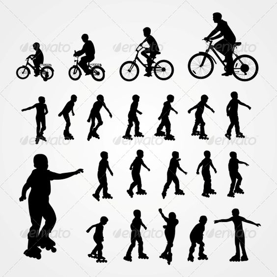 Silhouettes of Roller Skating and Bicyclist  #GraphicRiver