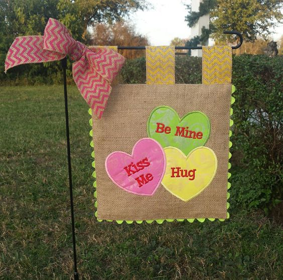 Celebrate the Valentines with this Custom burlap garden flag, featuring whimsical conversation hearts with your choice of fabrics - shown in