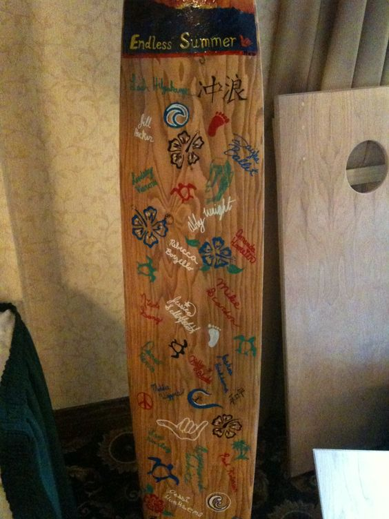 Cool wooden surfboard with kids imprints.  Unique enough to stand out among the other classes for sure.  Dad told me he'd hang it on the wall.