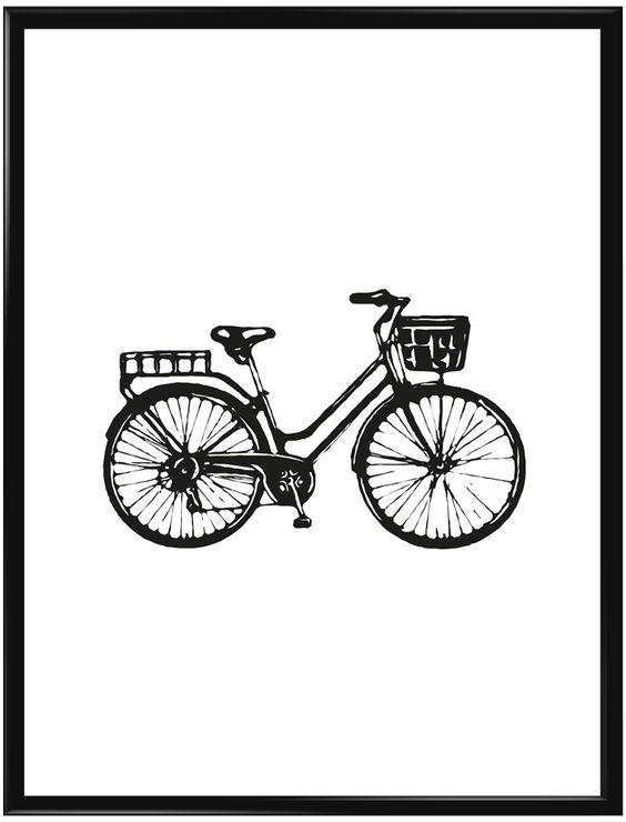 Retro poster med en klassiskt fransk cykel i handritat utseende. Denna poster är…