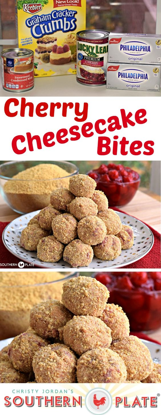 Cherry Cheesecake Bites - All the yum in bite size form! ~ http://www.southernplate.com