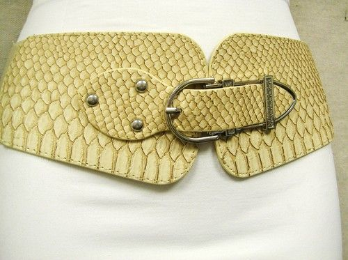 "CHIC WOMEN'S ELASTIC BELT BEIGE WIDE CROC PRINT SILVER STUDS AND BUCKLE 30""-43"" US $14.95 FREE Standard Shipping"