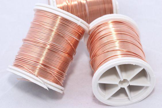 Bobine de fil de cuivre 0.3 mm couleur brut cuivre pour artisanat artistique de diamètre / 48 m