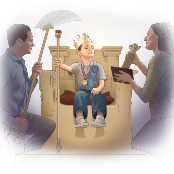 Parents offer excessive praise to their son as he sits on a throne: