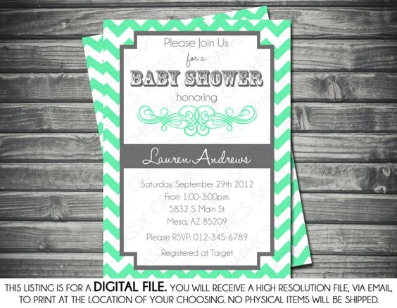 Gender Neutral Baby Shower Invitation - Chevron Stripes, Mint, Gray, Printable, Digital File on Etsy, $15.00