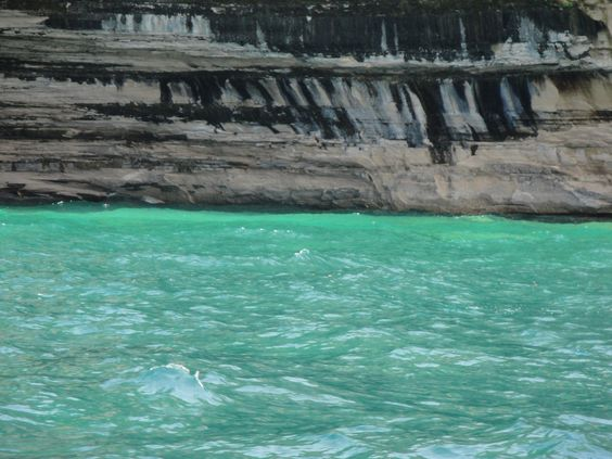 Pictured Rocks, Munising, MI - I love the colors of Lake Superior, She's so temperamental... calm at times, then so very wicked!!! This day she was fairly calm and the temperature was warm. Sept 2014