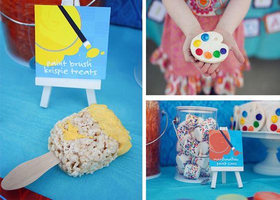 Super cute art party. I love the paintbrush rice crispy treats!