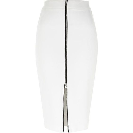 River Island White silver zip front pencil skirt found on Polyvore