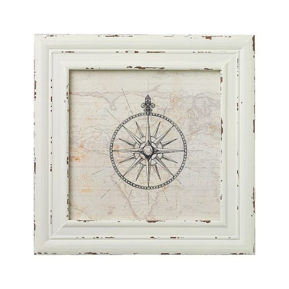 "This Sketch of a ornate compass on a old world map is displayed in a wooden white distressed frame.  Perfect for coastal or nautical themes. Makes a great focal point when grouping with other coastal and nautical themed pictures we are offering.  Measures: 11 1/2"" W x 11 1/2"" H"