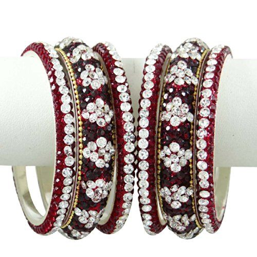 Hochzeit Braut Kundan Bangle September Bollywood Bangles Ethnische Maroon CZ Schmuck 2 * 8   Your #1 Source for Jewelry and Accessories
