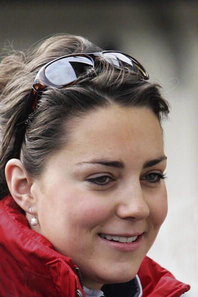 Kate Middleton, girlfriend of Prince William join in with the royal ski party in Klosters on March 30, 2005 in Switzerland.