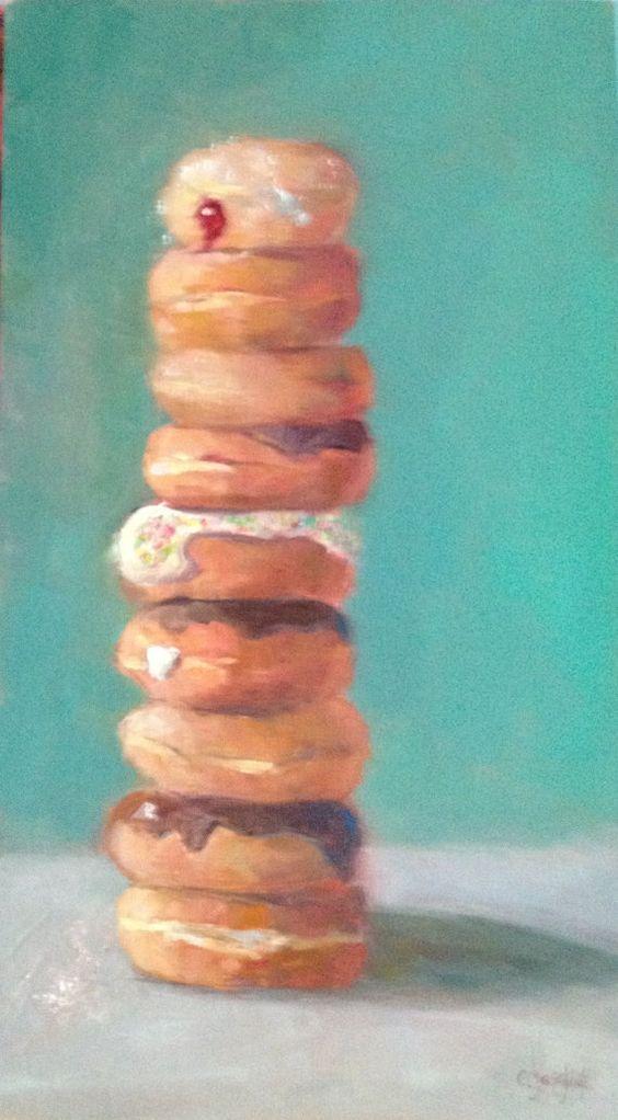 Balanced Diet  original oil  20 x 11  by CarolJosefiakFineArt, $325.00  food painting