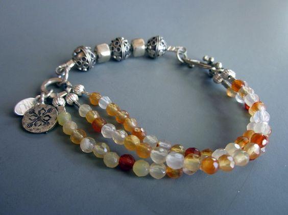 Multi strand Bali Silver bracelet  Autumn Color by hogwildjewelry