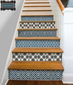 Cuisine salle de bain mur escalier contremarche tuile stickers vinyle ...