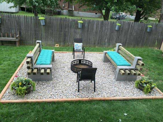 DIY Concrete Cinder Block Seating and Fire Fit Ideas for Backyard