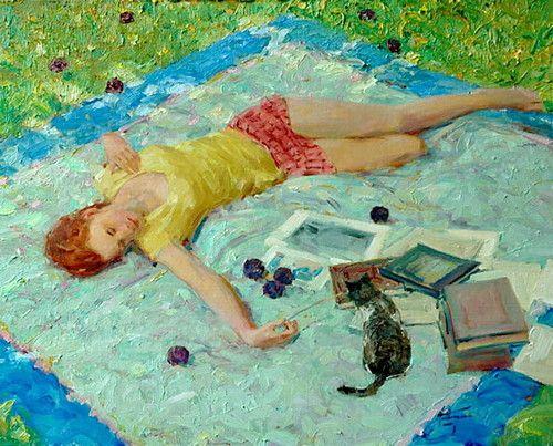 bibliolectors:  Summer break / Descanso veraniego (ilustración de David Hettinger)