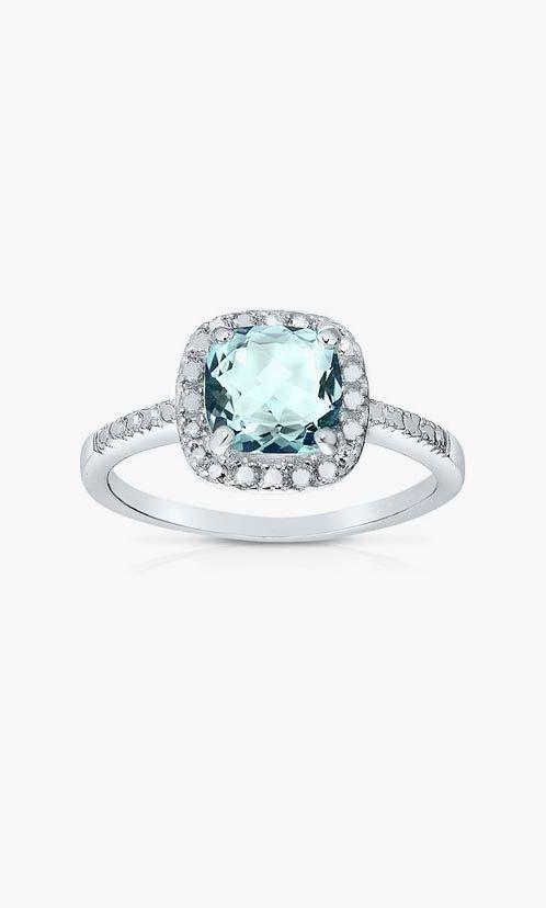 Endearing Blue Topaz & Diamond Cushion-Cut Ring