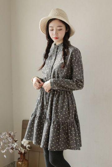 Bird Print Dress   Korean Fashion