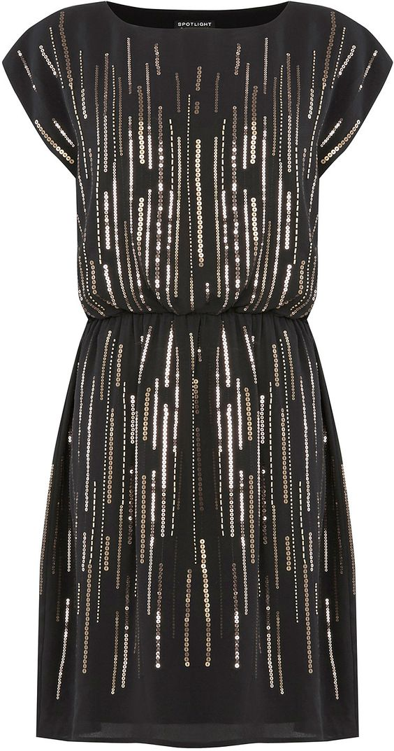 Womens black bead and sequin scatter dress from Warehouse - £85 at ClothingByColour.com