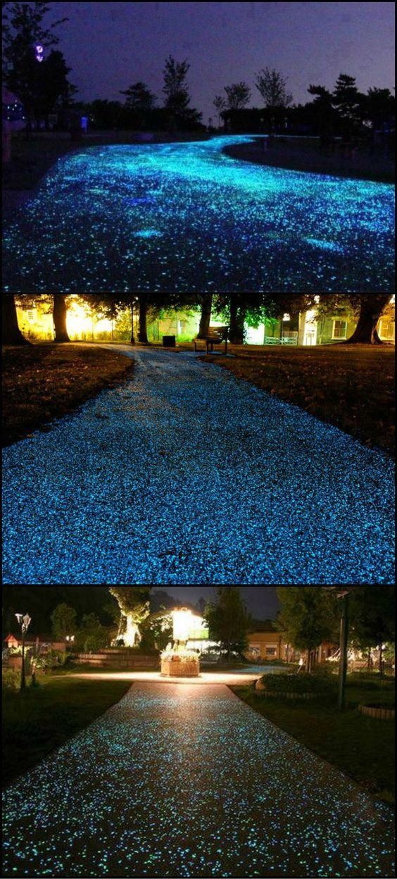 "How Would You Like A Driveway That Twinkled Like Fairy Lights Every Night?  http://theownerbuildernetwork.co/h38u  It is possible by using ""glowstones"" in your concrete mix, but it is not cheap. The upside of the extra expense I guess is that you wouldn't need any outdoor lighting as the stones hold light for around 12 hours."